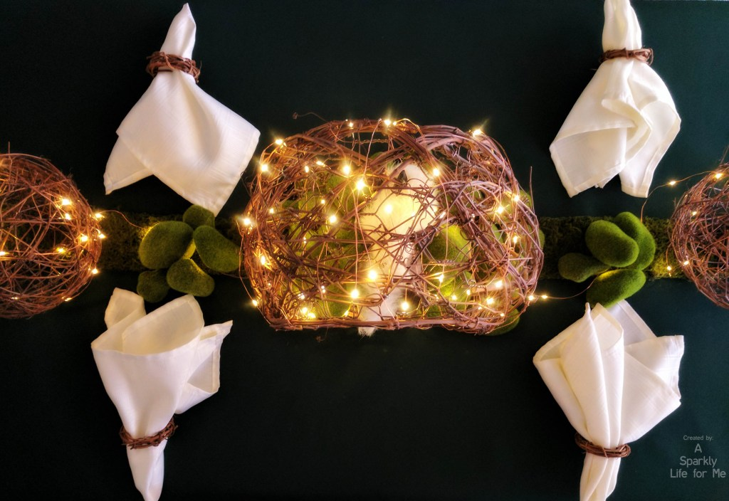 DIY Enchanted Garden Table Decor with Fairy Lights Grapevine and Moss – by A Sparkly Life for Me