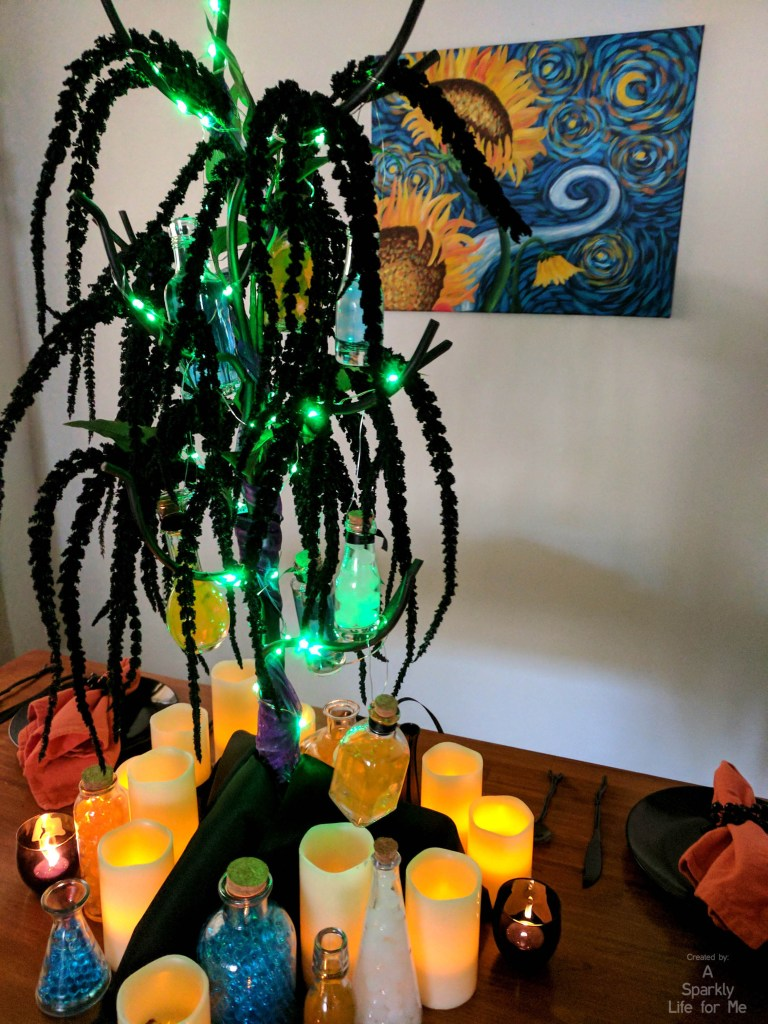 DIY Glowing Potion Tree Table Decor with LED Lights in Green - by A Sparkly Life for Me