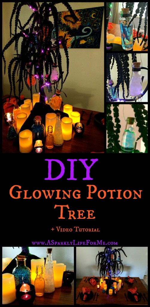 DIY Glowing Potion Tree and Video Tutorial by A Sparkly Life for Me