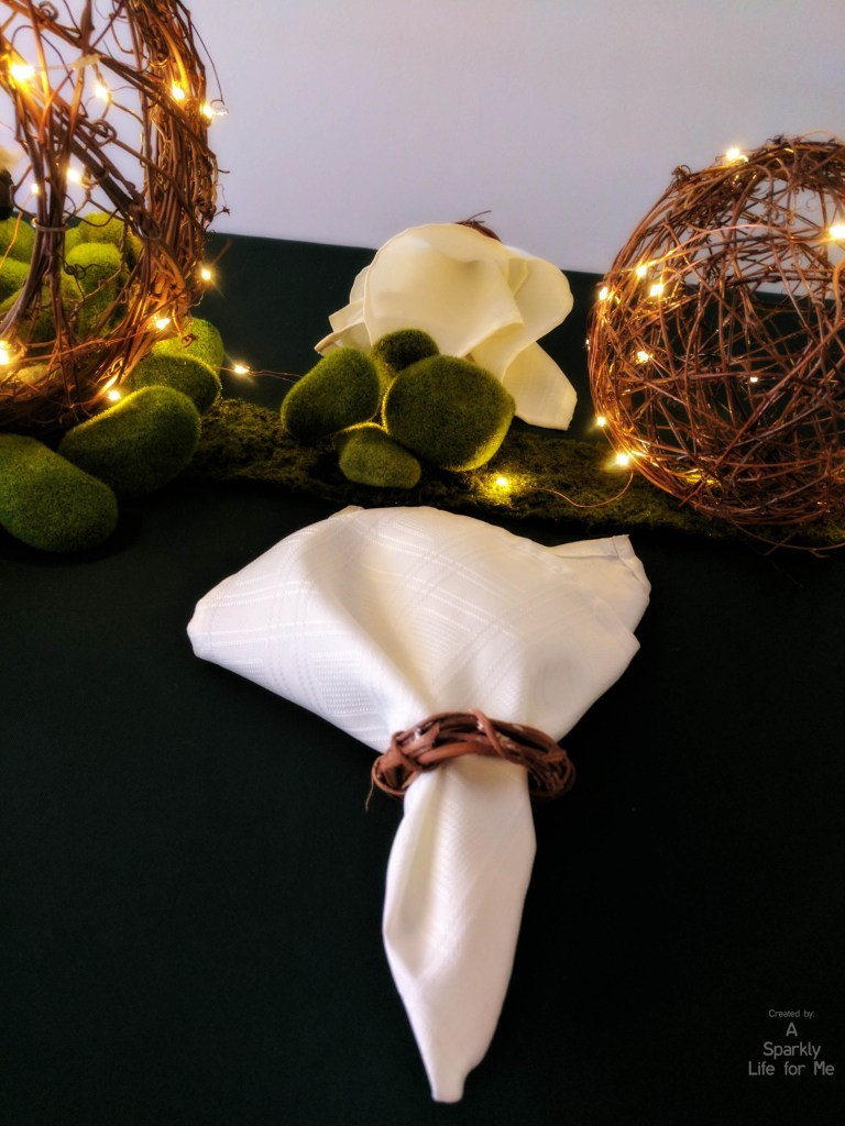 Grapevine Napkin Rings on Enchanted Midsummer Dream Garden Table Decor - – by A Sparkly Life for Me