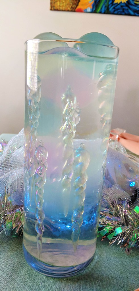 Frozen Icicle Rainbow AB Effect Centerpiece with Submerged Icicle WITH Video Tutorial by A Sparkly Life for Me