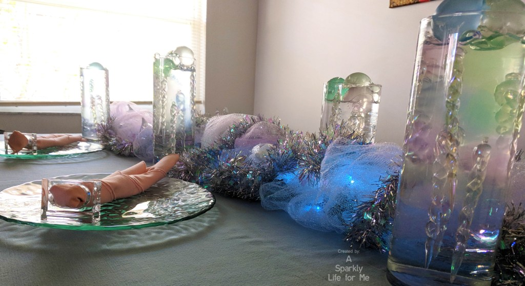 Winter Wonderland Frozen Icicle Table Decor and Tutorials for Runners and Centerpiece by A Sparkly Life for Me
