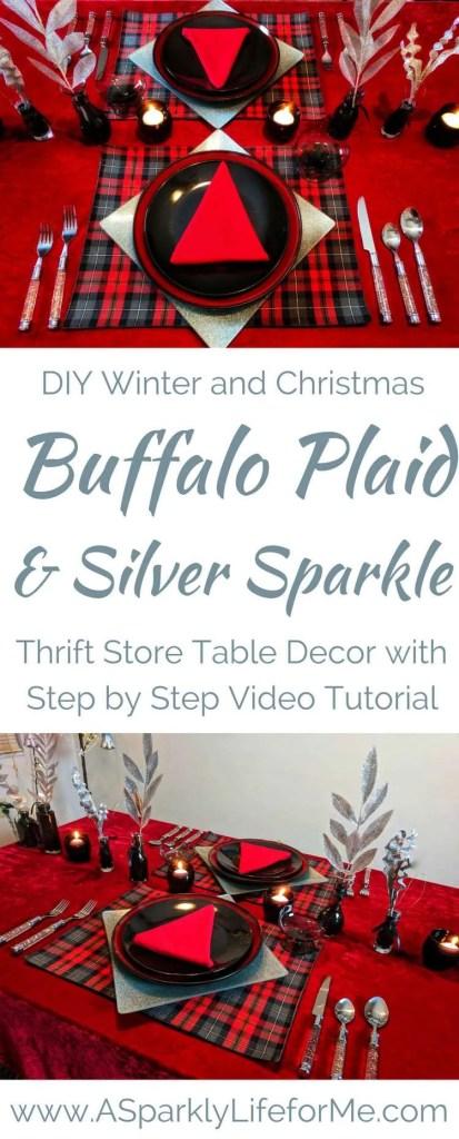 DIY Christmas Buffalo Plaid and Silver Table Decor