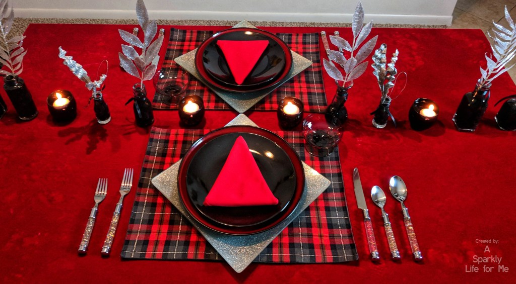 silver sparkle and buffalo plaid - table decor for christmas