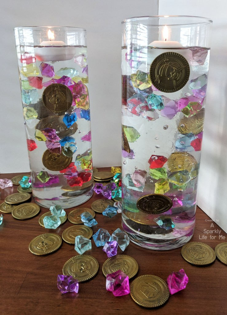Easy DIY Pirate Plunder Centerpiece with Video Tutorial - #pirate #centerpiece #DIY #gems #videotutorial