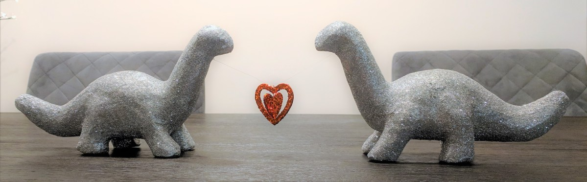 Dinosaur's in Love – Quick and Easy DIY Valentine's Day Centerpiece – with GLITTER!