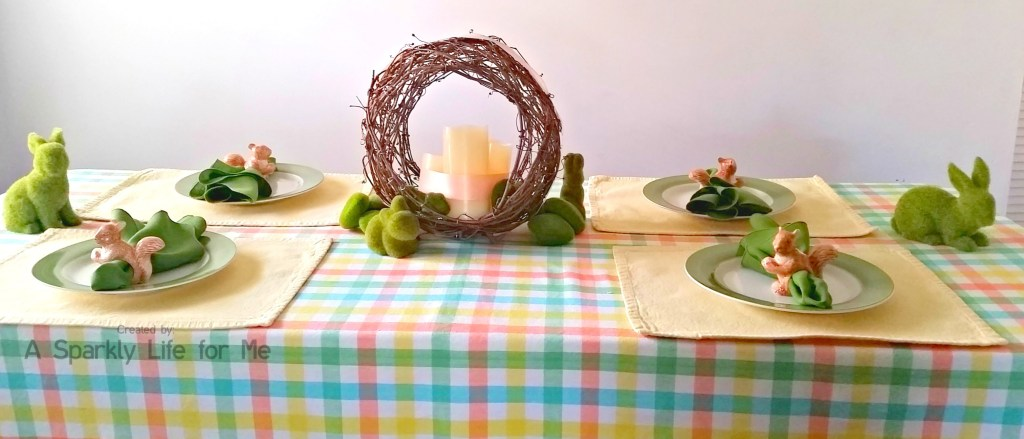 DIY Spring Table Decor with LED Candle Centerpiece and Moss Covered Bunnies – by A Sparkly Life for Me