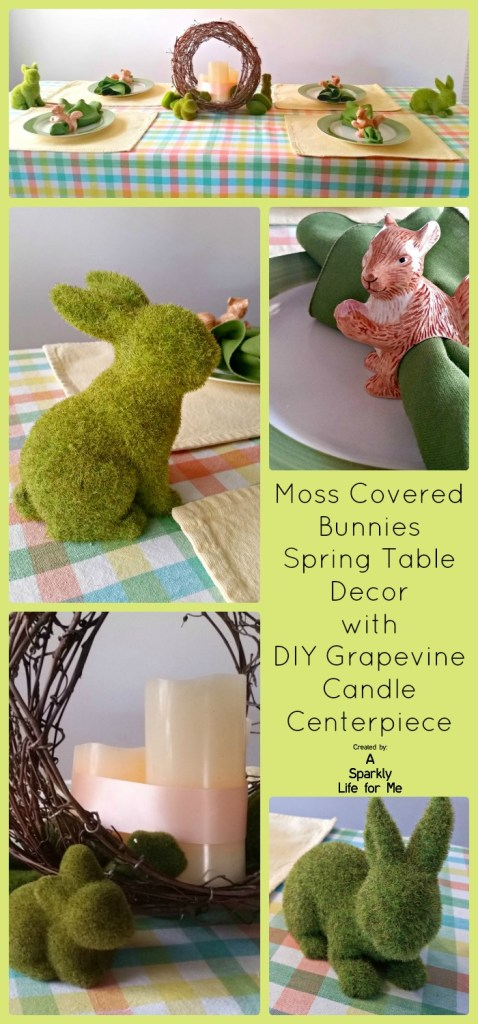 Moss Covered Bunnies Spring Table Decor with DIY Grapevine Candle Centerpiece by A Sparkly Life for Me