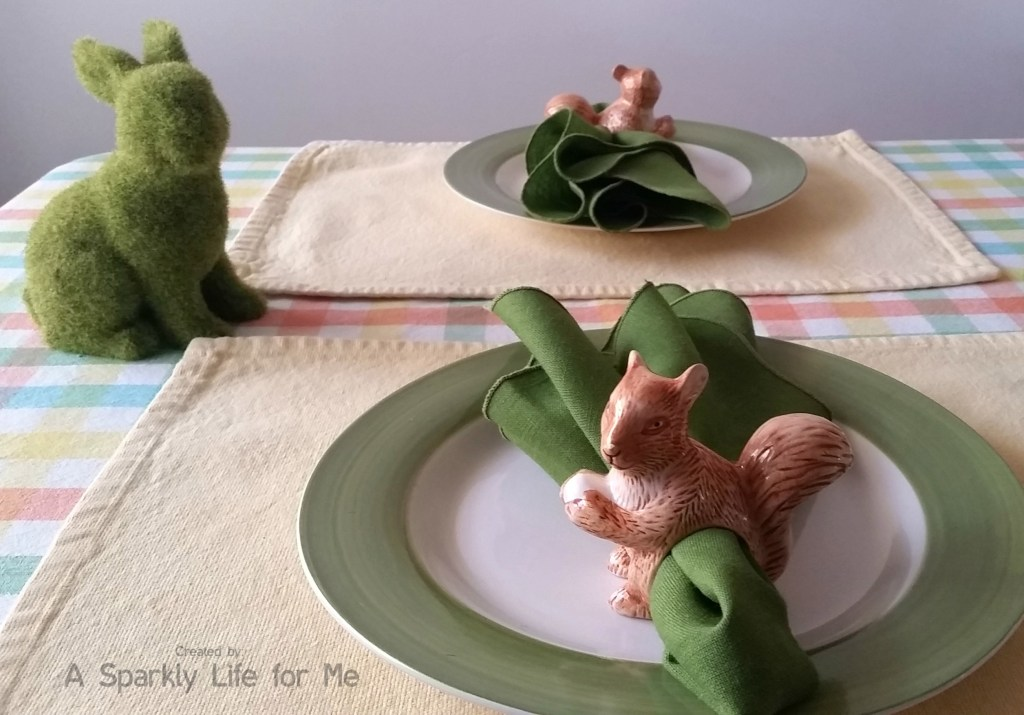 Spring Table for Two with Moss Covered Bunny – by A Sparkly Life for Me