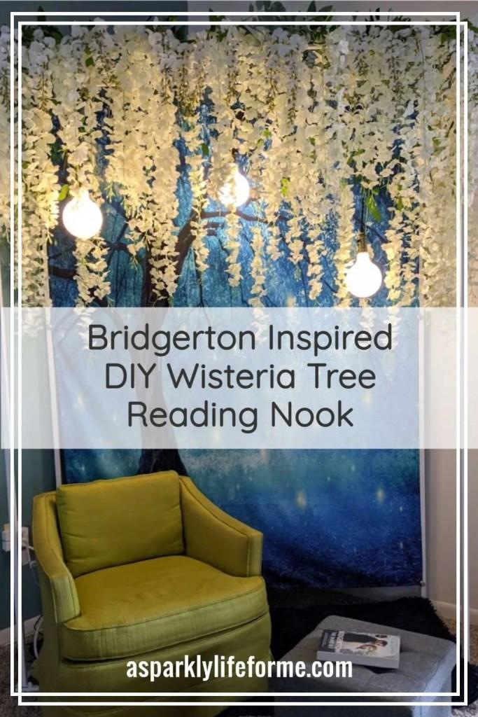 DIY Bridgerton Wisteria Tree Reading Nook with Tapestry Backdrop