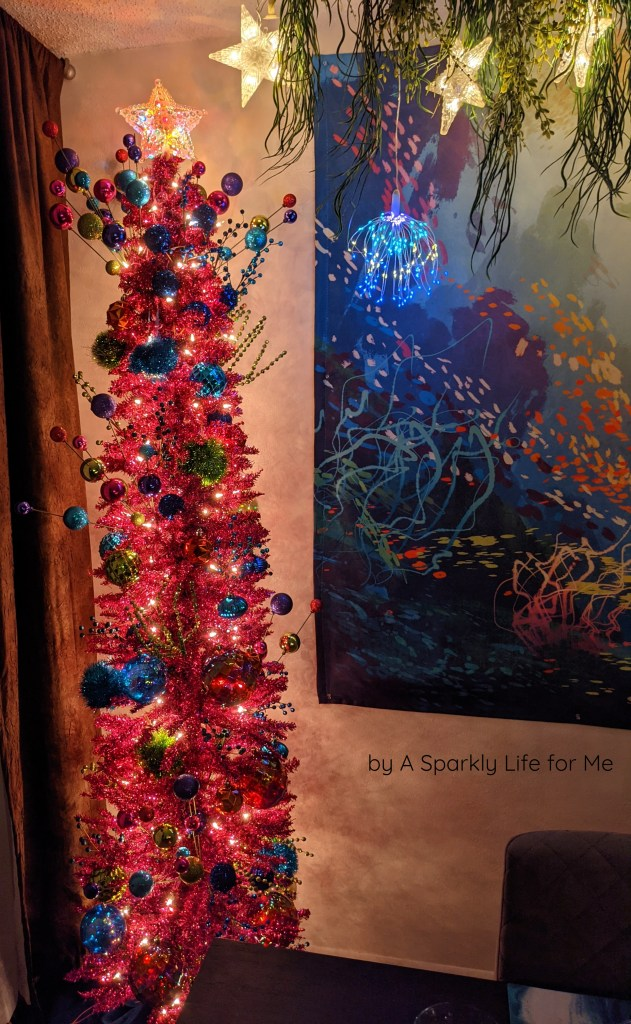 Pink Tinsel Pencil Tree - Merry and Bright Christmas