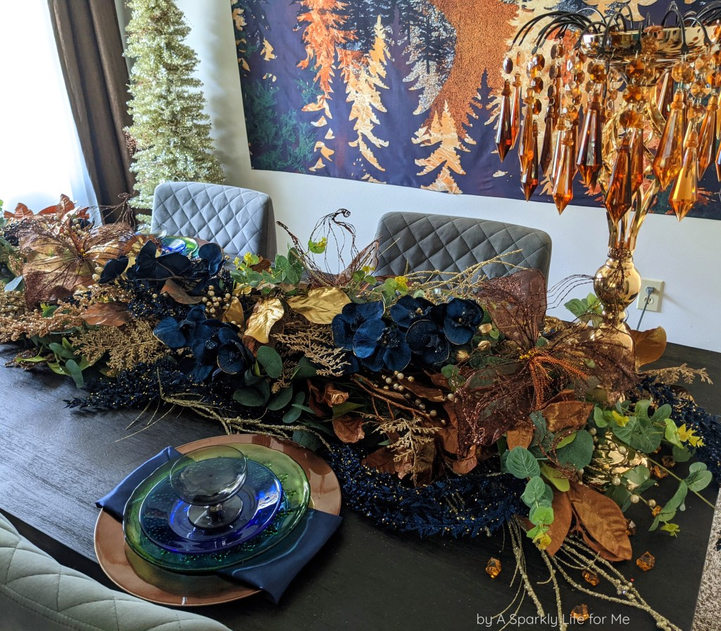 Glamorous Garland with Navy Blue, Eucalyptus and Mixed Metals! Table Decor for Fall and Thanksgiving with DIY video tutorial