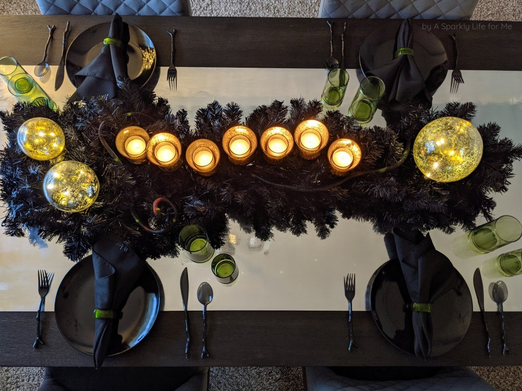 Mirror Vinyl Table Runner on Slytherin Party Tablescape
