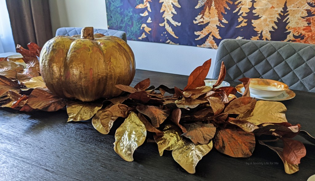 Easy Low Fall Centerpiece with Metallic Leaves by A Sparkly Life for Me