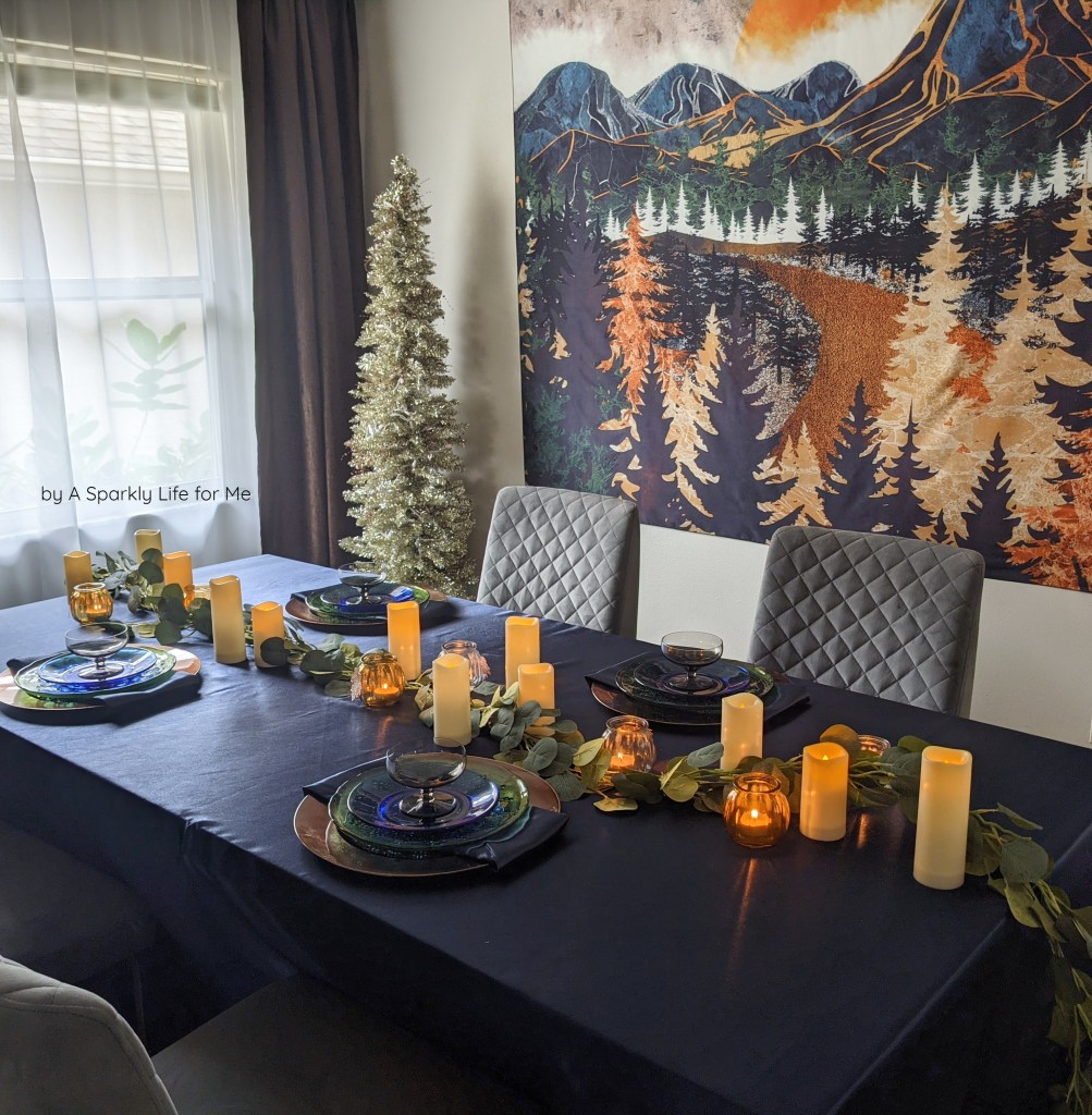 Easy Fall Tablescape in Navy with Mountain Tapestry and Garland Runner Centerpiece