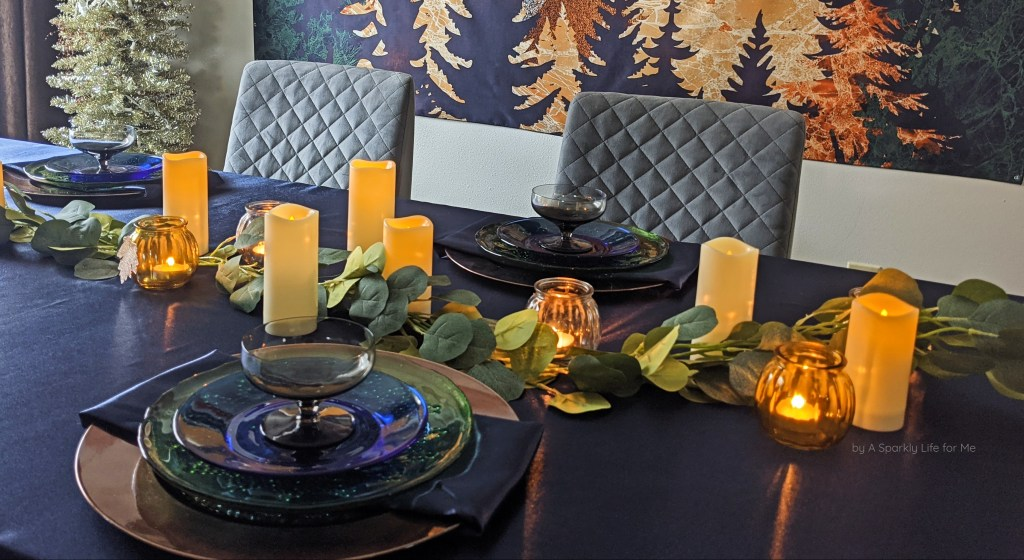 Navy Fall Tablescape with Eucalyptus Garland and LED Candles
