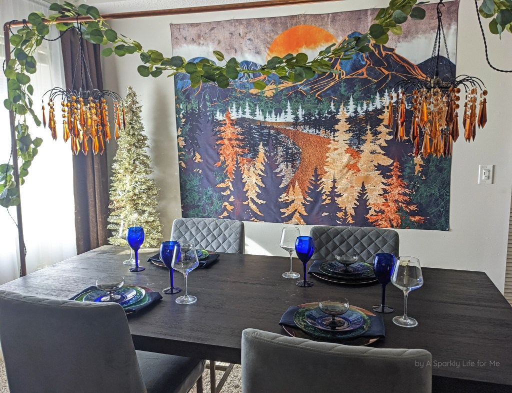 Table Arch Centerpiece with Chandeliers and Eucalyptus Greenery - Daytime No Lights On