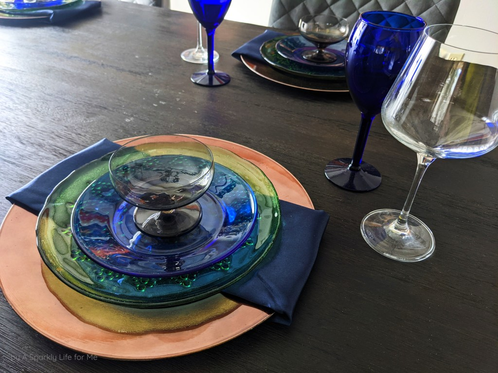 Thrifted Place Setting in Blue, Green, Copper, and Smokey Grey