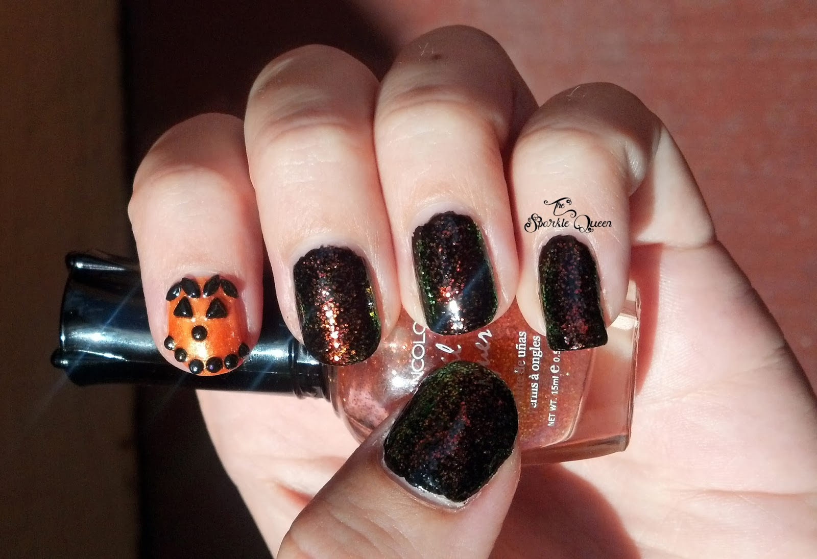 Sparkling Jack-O-Lantern Halloween Nails - A Sparkly Life for Me