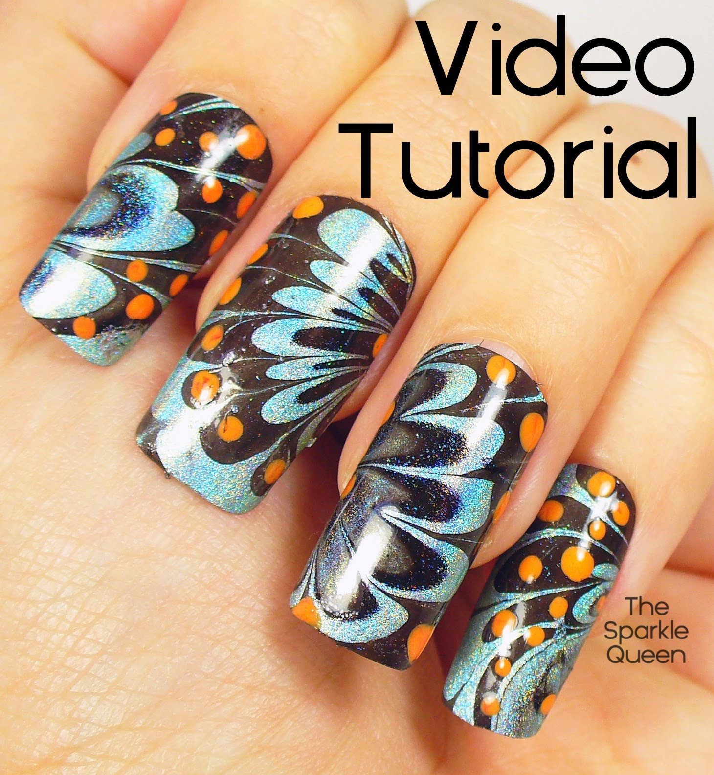 Video Tutorial for my Water Marble Nail Art for the April