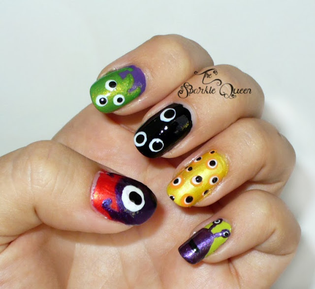 Video Tutorial For 5 Cute Monster Nail Art Looks A Sparkly Life For Me