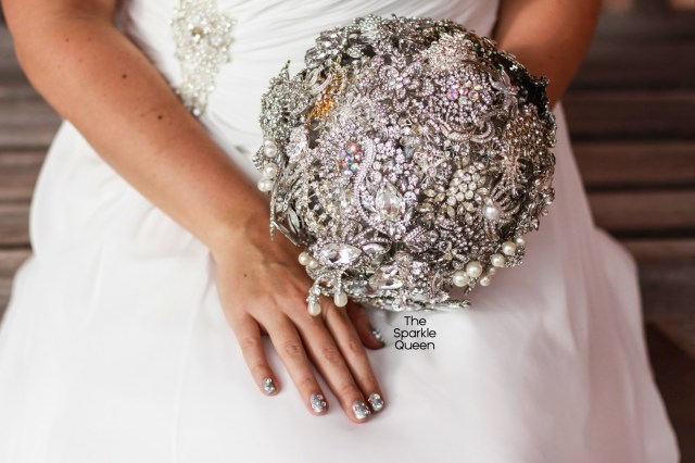 A Glimpse of My Wedding, wedding, wedding nails, wedding nail art, the sparkle queen, rhinestone nail art, brooch bouquet, diy brooch bouquet, rhinestone bouquet, maggie sottero sonora