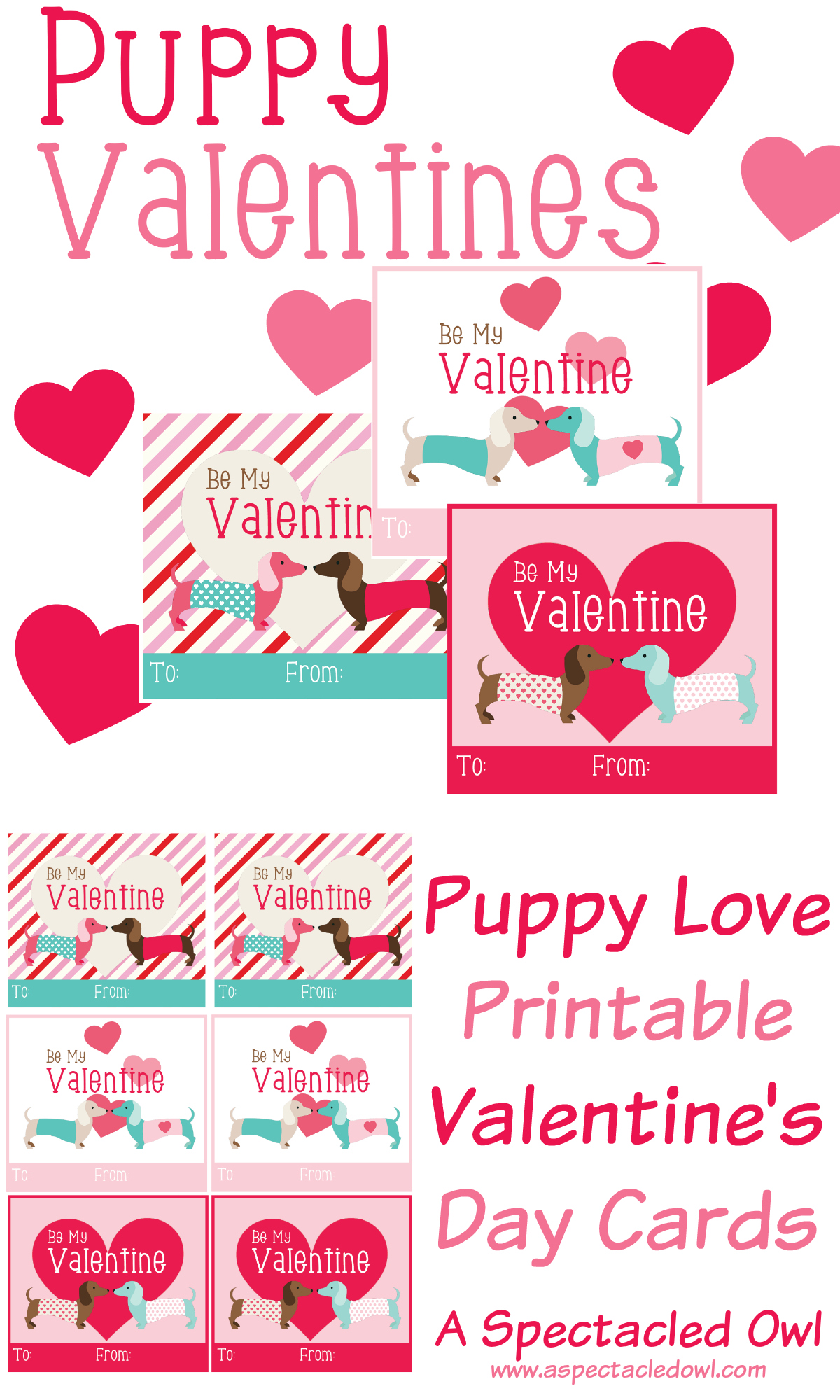 Puppy Love Printable Valentine S Day Cards
