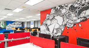 Colour, office design wall mural melbourne