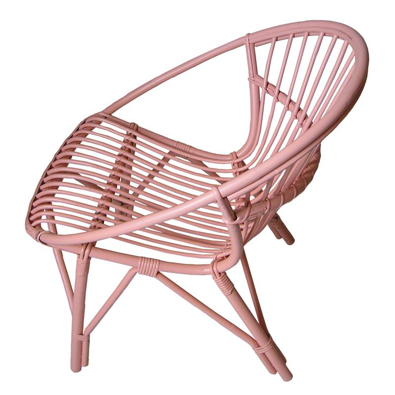 fauteuil rotin rose