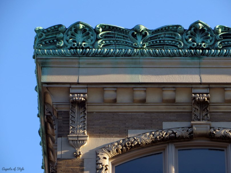 architectural details of a building in Boylston street