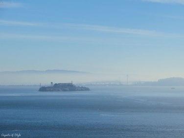 Alcatraz and Bay Bridge as seen from Golden Gate Bridge, SF