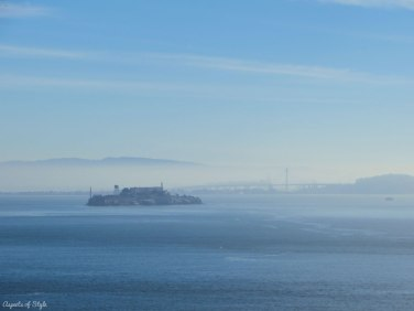 Alcatraz and Bay Bridge as seen from Golden Gate Bridge, SF