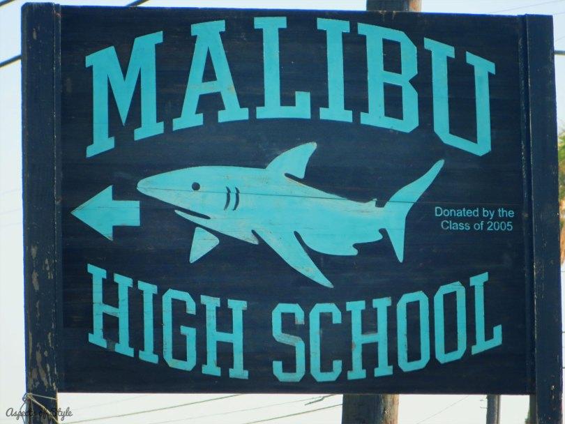 Malibu High School sign