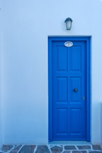 blue door in Amorgos, Greece