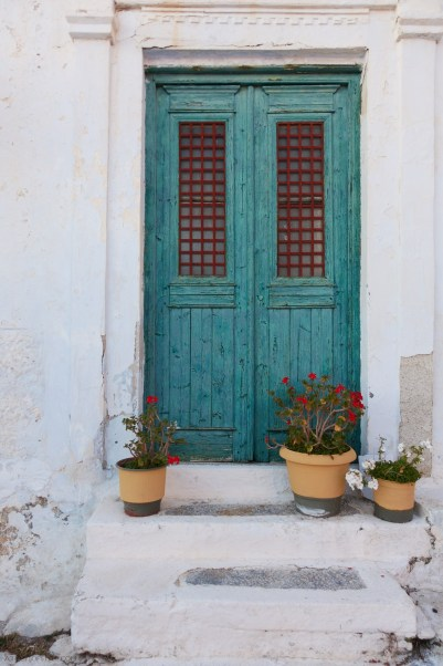 teal door in Chora Amorgos, Greece