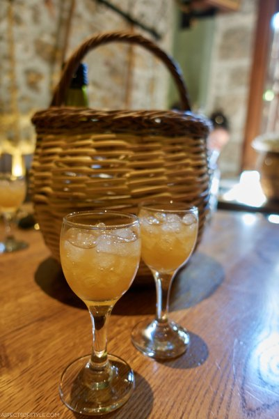 peach liqueur at Peskesi restaurant, Heraklion