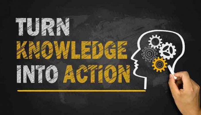 turn knowledge into action concept on blackboard