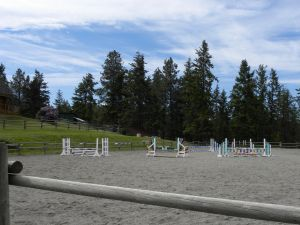 Main sand arena at Aspengrove Country Resort Vernon BC Canada