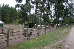 wood rail paddock fencing at Aspengrove Country Resort Vernon BC Canda