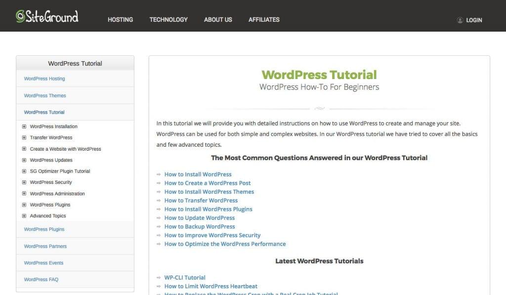 Didacticiels WordPress Siteground