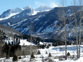 Looking toward Chair Mountain in the scenic upper Crystal River valley. Taken from the Placita Reservoir site.