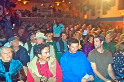 The crowd at the public hearing in Paonia on January 11 regarding the proposed Bear Ranch federal land swap. Paonia public radio station KVNF has audio of the hearing on its website.