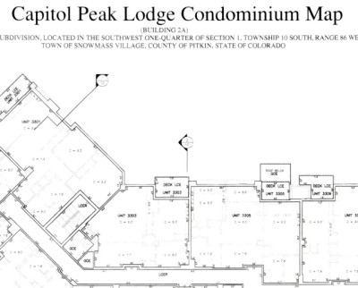 A detail from the Capitol Peak Condo Map on file with the Pitkin Court Clerk. Unlike some other condo maps, this one does not have a list of condos that includes the square footage of each condo, something the plaintiffs allege the developers did on purpose to deceive them.