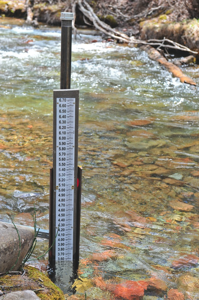 """A USGS staff gauge on Castle Creek was installed recently. The gauge, or """"gage,"""" as USGS calls it, began measuring the height of the water in Castle Creek on April 26. Once enough initial data has been collected, the gauge will begin producing water measurements in cubic feet per second that show how much water is flowing down the stream."""