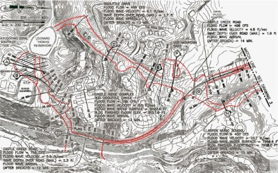 An inundation map prepared by McLaughlin Water Engineeers for Thomas Reservoir. The red lines mark the boundaries of the flow of water from the reservoir in the event of dam failure on the east and north sides of the reservoir.