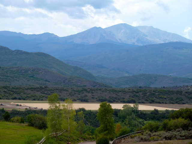 The now very level pasture on the High Mesa Ranch on Aug. 24, 2012, as seen from Watson Divide with Mount Sopris in the background.