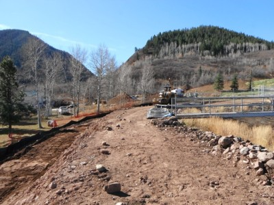 The east side of the dam at Thomas Reservoir just after the tree stumps had been removed in October.