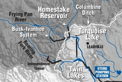 This is a detail of Aurora's water-supply system map as available on Aurora Water's website. The map mistakenly labels the Boustead Tunnel — part of the Fry-Ark project — as the Busk-Ivanhoe Tunnel, but the map is used here because it still helps put the Busk-Ivanhoe transbasin diversion into context, as does the pdf of the larger map. To be clear, the Busk-Ivanhoe Tunnel runs from the top of a tributary of the main stem of the Fryingpan River, not out of the South Fork of the Fryingpan River, as indicated above.