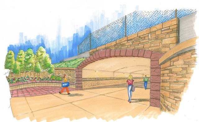 An artist's rendering of the proposed Highway 82 pedestrian underpass at the airport, which is now more than $2 million over initial budget estimates.