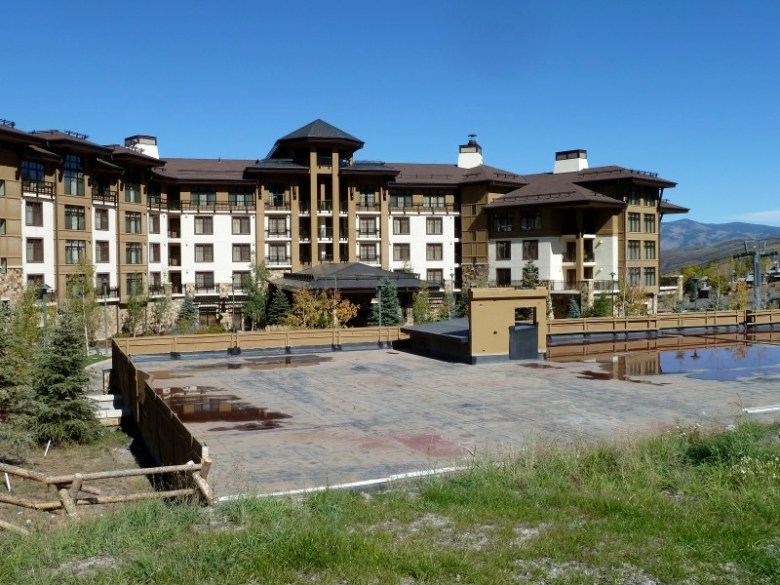The Viceroy hotel, Building 13A, stands behind the platform for Building 13B, which Related is now seeking permission from Snowmass Village to build. The platform is on top of the parking garage for the Viceroy hotel.